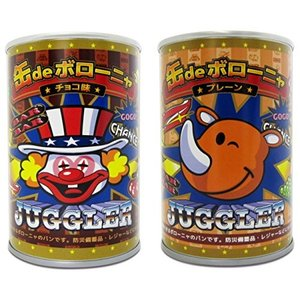 ジャグラー 缶deボローニャ デニッシュパン (2種×2缶) 合計4個 チョコ プレーン 非常食 保存食 防災用品 送料無料|hiroshimaya-pachi