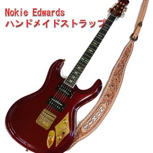 Mosriteコーナー Judy Edwards-san 手作り Nokie ギターストラップ ブラウン ホワイトロゴ hiroshimaya-pachi
