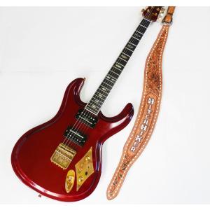 Mosriteコーナー Judy Edwards-san 手作り Nokie HITCH HIKER ヒッチハイカーロゴ ギターストラップ ブラウン hiroshimaya-pachi