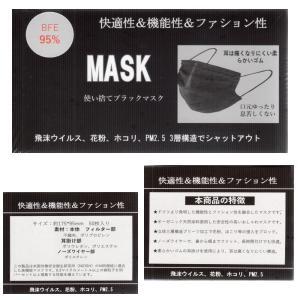 使い捨てマスク ブラックマスク 黒マスク 50枚入 N95 ...