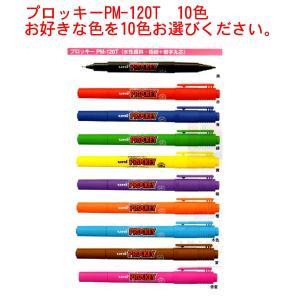 三菱鉛筆 プロッキー PM-120T (水性顔料・極細0.4mm+細字丸芯0.9mm)10本セット 送料無料|hiroshimaya-pachi