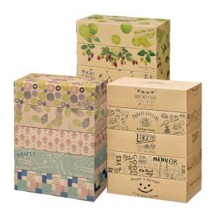 新着 エルモア ボックスティッシュ 180W 5箱パック 3柄アソート 10組 飾って楽しむティッシュ カミ商事|hiroshimaya-pachi