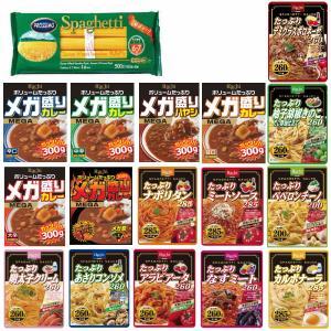 時短食 レトルト 新着 ハチ食品 メガ盛りカレー たっぷりパスタソース 14袋セット パスタおまけ付き 関東圏送料無料|hiroshimaya-pachi