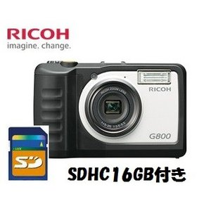 SDHCカード16GB付き【送料無料】 RICOH・リコー 防水・防塵・耐衝撃デジタルカメラ G800 工事現場 現場用 現場監督 工事用などに|hit-market