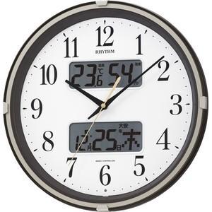 【ギフトに25個以上で送料無料】RHYTHM・リズム時計 温度・湿度・六曜表記の電波掛け時計 フィットウェーブリブ 4FYA07SR06|hit-market