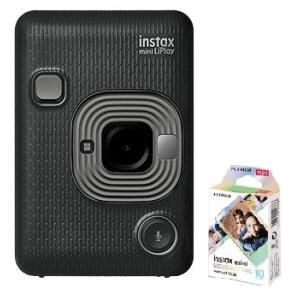 チェキフィルム1本付き【送料無料】フジフイルム FUJIFILM  カメラ&スマートフォン用プリンター チェキ instax mini LiPlay DARK GRAY【***特別価格***】