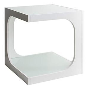 サイドテーブル 2段 ガラス天板 ホワイト 幅40×奥行き40×高さ45cm ST-402 WH