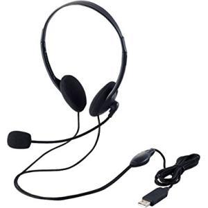 USBヘッドセットマイクロフォン/両耳オーバーヘッド/1.8m HS-HP27UBK ヒットライン