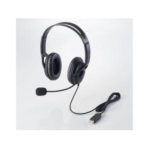 USBヘッドセットマイクロフォン/両耳オーバーヘッド/片出しケーブル/1.8m HS-HP28UBK ヒットライン