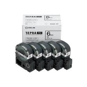 テプラテープカートリッジ 白ラベル(黒文字) 6mm幅 5個パック SS6K-5P