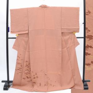 訪問着 中古 リサイクル 正絹 仕立て上がり 縫取ちりめん 木文様 躾付 裄63cm Sサイズ ほうもんぎ hh4055|hitotoki