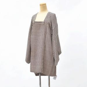 着物 コート 中古 リサイクル 正絹 道行 裄66cm はおり ベージュ系 裄Mサイズ