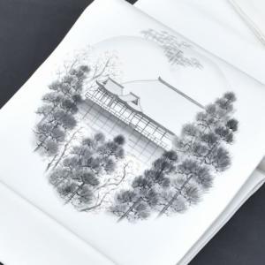 リサイクル 名古屋帯 中古 化繊 九寸 塩瀬 白系 風景 hitotoki