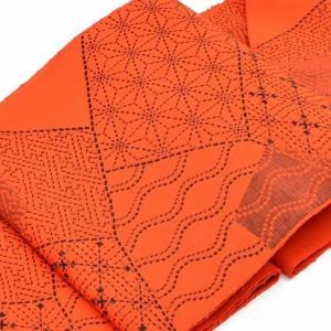 リサイクル 名古屋帯 中古 交織 八寸 なごやおび 赤系 幾何学文様 hitotoki