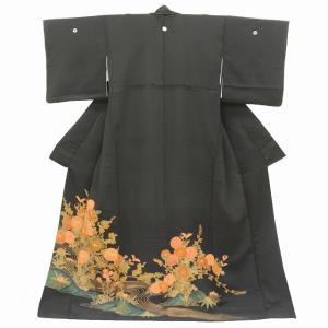 黒留袖 中古 リサイクル 正絹(表) 五つ紋 比翼付き 裄65.5cm 黒系 jj1471a05|hitotoki