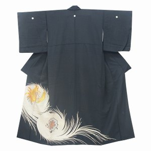 リサイクル着物 黒留袖 中古 仕立て上がり 正絹 黒 鳳凰文様 jj2858b|hitotoki