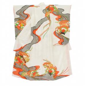 七五三 中古 女の子 七歳 着物 作り帯 長襦袢 セット 7歳 リサイクル 着物 白色系 花文様 kka9353b|hitotoki