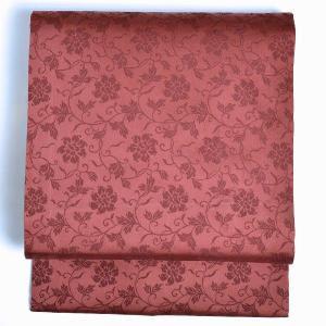 名古屋帯 なごやおび 正絹 羽織仕立て替え 紅色 唐草文様kmn0400|hitotoki