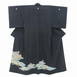 リサイクル着物 黒留袖 中古 仕立て上がり 正絹 五つ紋 比翼付き 黒 霞取文様 ll0057b|hitotoki
