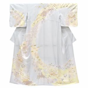 リサイクル着物 訪問着 中古 リサイクル 正絹 仕立て上がり 薄い水色 四季花文様 ll0143a500|hitotoki