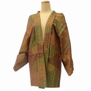 羽織 着物 中古 リサイクル着物 正絹 裂取り文様 マルチカラー系 ll0292c|hitotoki