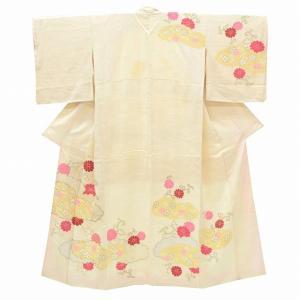 リサイクル着物 訪問着 中古 リサイクル 正絹 仕立て上がり 菊文様 白系 ll0443c|hitotoki