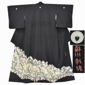 リサイクル着物 黒留袖 中古 仕立て上がり 正絹 五つ紋 比翼付き 華唐草文様 黒系 ll0447a100|hitotoki
