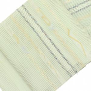 夏帯 名古屋帯 リサイクル 中古 正絹 絽 八寸 緑系 幾何学文様 ll0547a05 hitotoki