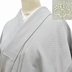 リサイクル着物 色無地 中古 仕立て上がり 正絹 一つ紋 グレー系 Mサイズ ちょっとふくよかL  ll2157b|hitotoki