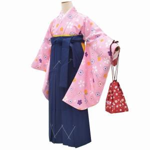 リサイクル着物 二尺袖 袴 中古 卒業式 長襦袢 半幅帯 巾着 5点セット ll2323b hitotoki