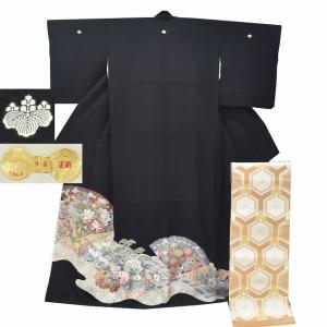 リサイクル着物 黒留袖 中古 正絹 五つ紋 袋帯 2点セット ちょっとふくよかL Mサイズ ll2401b|hitotoki