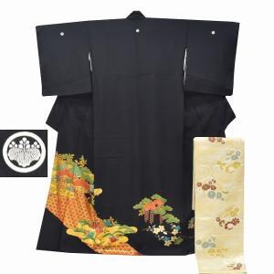 リサイクル着物 黒留袖 中古 正絹 五つ紋 袋帯 2点セット ちょっとふくよかL Mサイズ ll2402b|hitotoki
