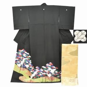 リサイクル着物 黒留袖 中古 正絹 五つ紋 袋帯 2点セット ちょっとふくよかL Lサイズ ll2407b|hitotoki