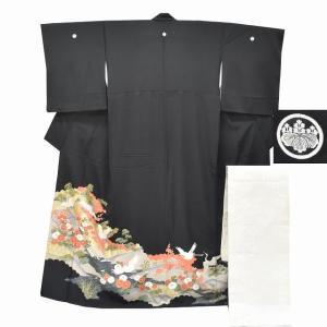 リサイクル着物 黒留袖 中古 正絹 五つ紋 袋帯 2点セット ちょっとふくよかL Mサイズ ll2415b|hitotoki