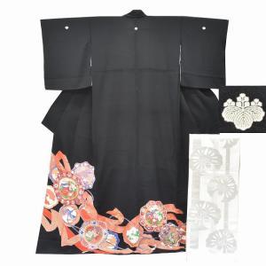 リサイクル着物 黒留袖 中古 正絹 五つ紋 袋帯 2点セット ちょっとふくよかL Mサイズ ll2416b|hitotoki