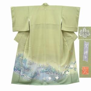 リサイクル着物 色留袖 中古 仕立て上がり 正絹 カーキ系 サイズM ちょっとふくよかL ll2914a70|hitotoki