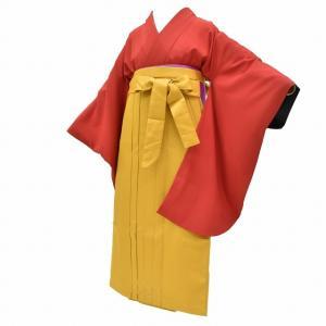 リサイクル着物 二尺袖 袴 女の子 半幅帯 小学生 卒業式 謝恩会 3点セット 赤 ll2984a35 hitotoki