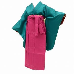 リサイクル着物 二尺袖 中古 袴 卒業式 女の子 半幅帯 小学生 ジュニア 卒業式 謝恩会 3点セット 濃い緑 ll2986a35 hitotoki