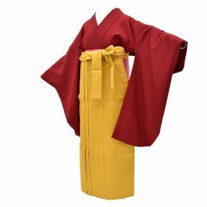 リサイクル着物 二尺袖 袴 女の子 半幅帯 小学生 卒業式 謝恩会 3点セット 赤 ll2989a35 hitotoki