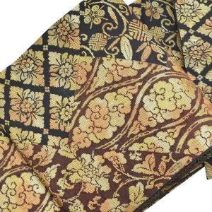 袋帯 中古 リサイクル着物 正絹 ll3041b 花文様 茶系|hitotoki