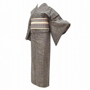 真綿紬 帯 セット 仕立て上がり 正絹 中古 ll3631b   ★説明 茶色地に縞地紋織のお着物に...