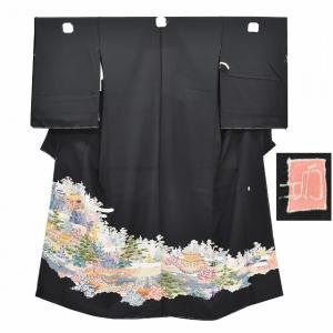 黒留袖 中古 着物 リサイクル 正絹 未仕立て ちょっとふくよかL mm0099a700|hitotoki