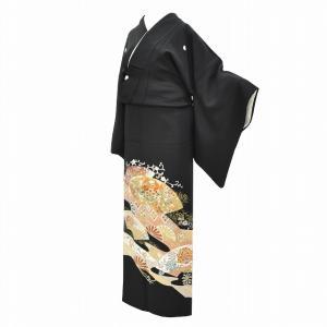 黒留袖 中古 着物 リサイクル 正絹 千總謹製 五つ紋 比翼付き 仕立て上がり ちょっとふくよかL mm0175b|hitotoki