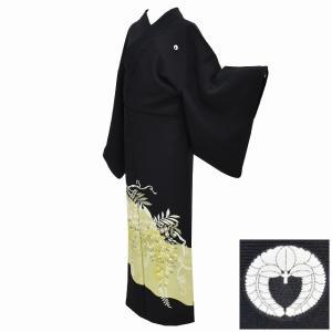 黒留袖 中古 着物 リサイクル 正絹 五つ紋 仕立て上がり mm0242b|hitotoki
