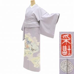 色留袖 中古 リサイクル 着物 正絹 仕立て上がり 一つ紋付き mm0445b|hitotoki