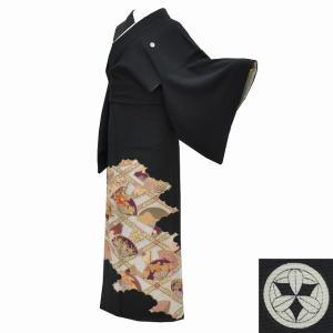 黒留袖 中古 着物 リサイクル 正絹 五つ紋 比翼付き 仕立て上がり mm0456b|hitotoki