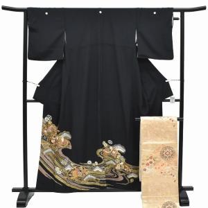 黒留袖 中古 リサイクル 着物 帯 正絹 リサイクル着物 セット 仕立て上がりmm0669b|hitotoki