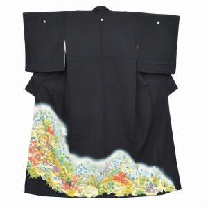 黒留袖 中古 着物 リサイクル 正絹 五つ紋 比翼付き 仕立て上がり ちょっとふくよかL mm1522b|hitotoki