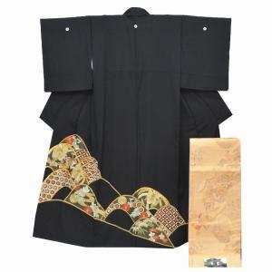 黒留袖 中古 リサイクル 着物 帯 正絹 リサイクル着物 セット 仕立て上がり mm1536b|hitotoki
