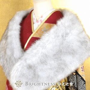 フェイクファー 振袖用 フォックス風 成人式 卒業式 結婚式 パーティ 白 グレー フォーマルsin0277|hitotoki